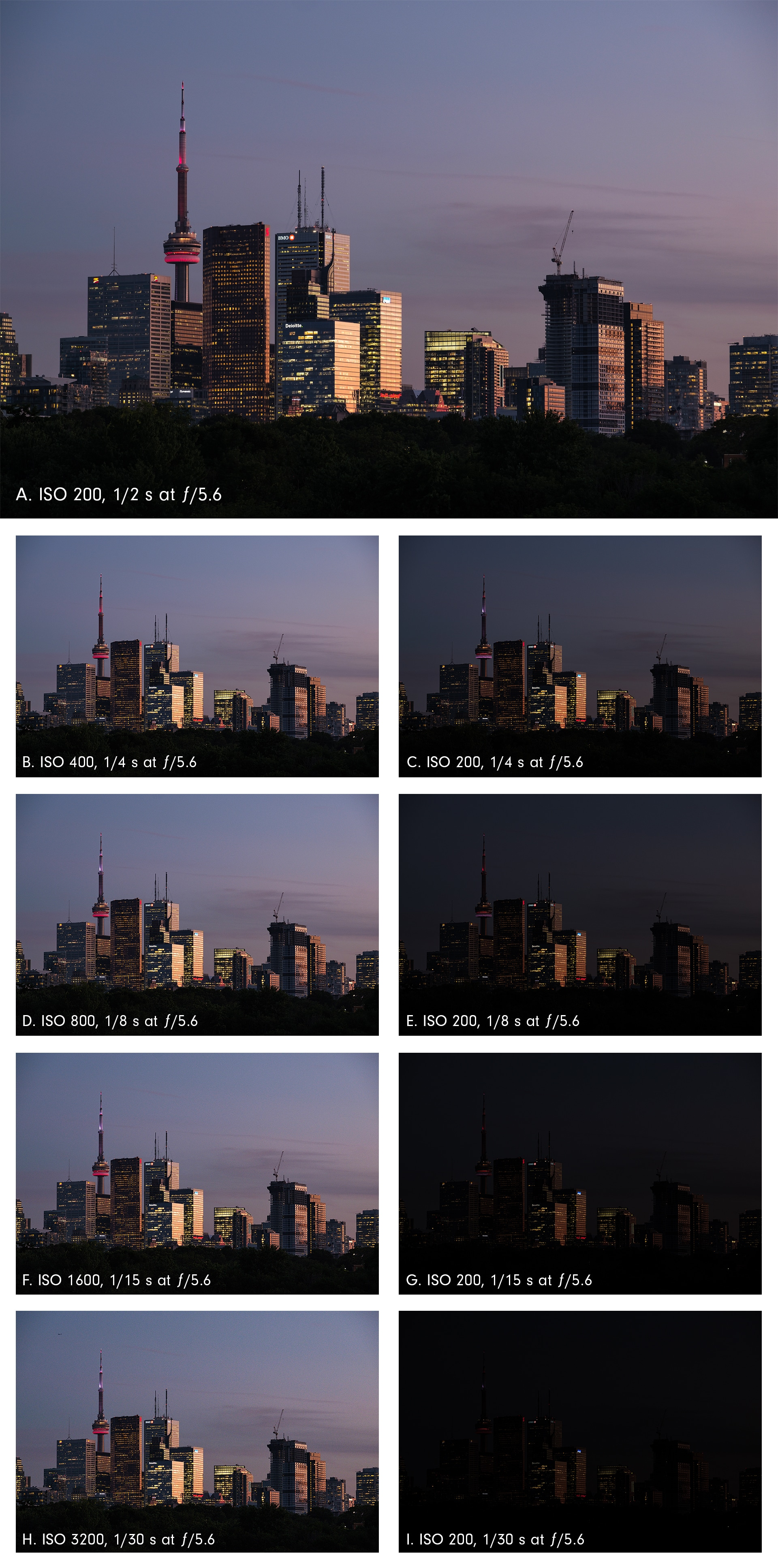 ISO and total exposure, Toronto's financial district at twilight, from Riverdale Park East.
