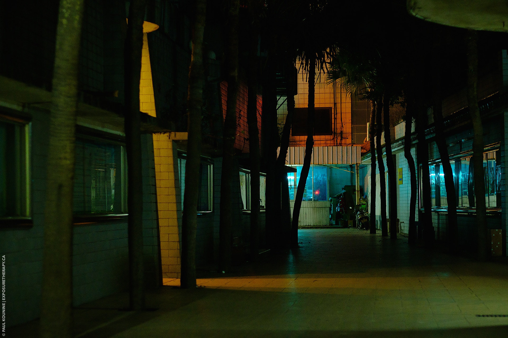 Colourful Xiaolanzhen alley lights at night