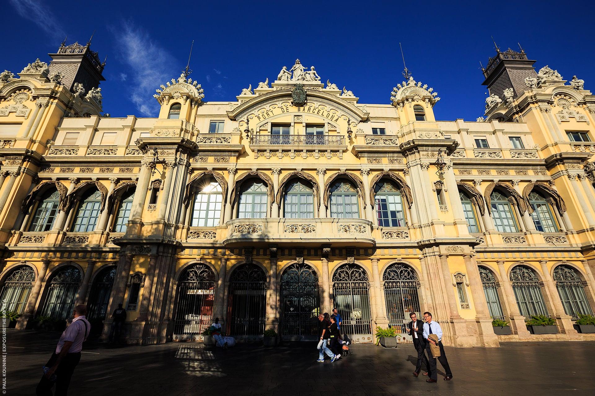 16 mm super wide-angle on full-frame camera, Port de Barcelona central building