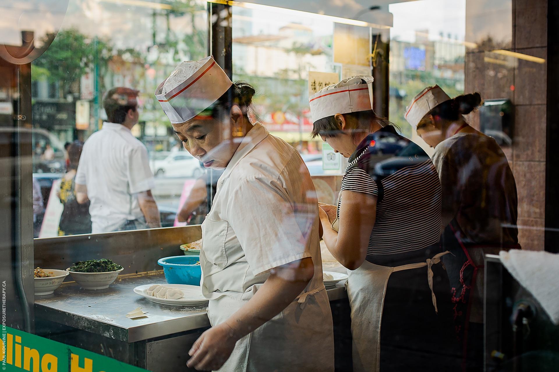 normal 50mm lens on fullframe camera in Toronto Chinatown dumpling restaurant
