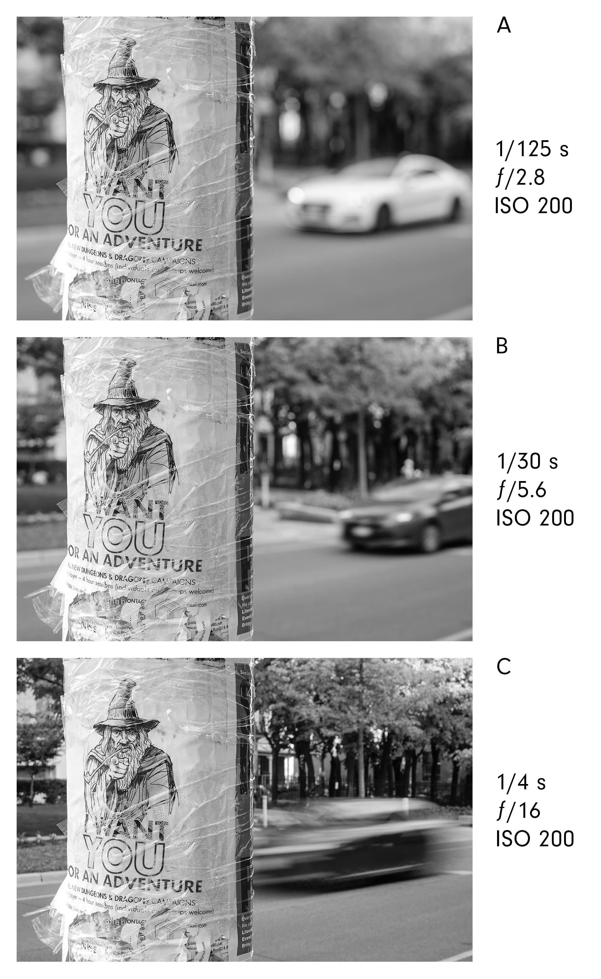 Reciprocity law, aperture and shutter speed trade-offs