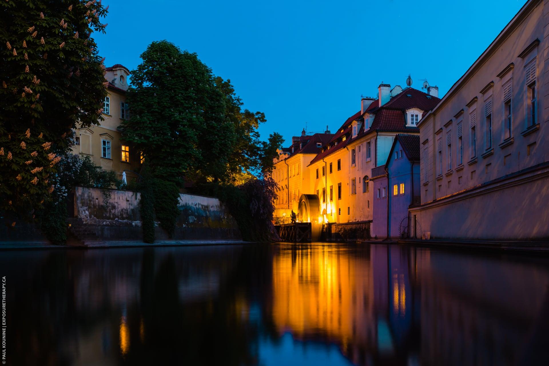 35 mm wide-angle lens on full-frame camera, Čertovka Canal, Prague.
