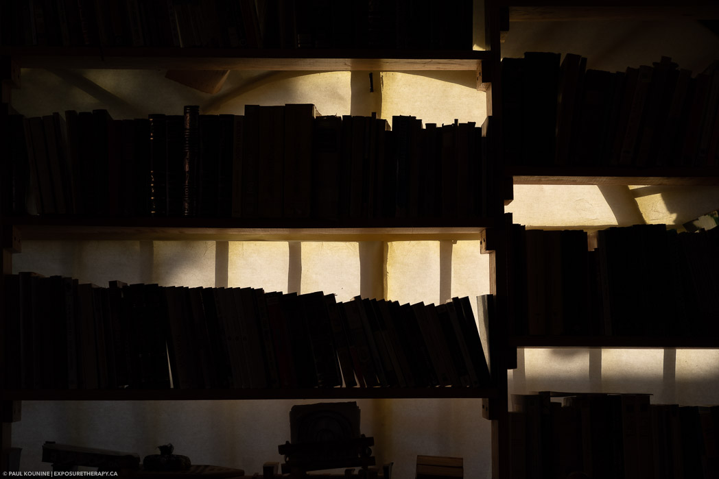 Silhouette of bookshelves against window in Chocolate Macondo near Teotihuacon, Mexico.