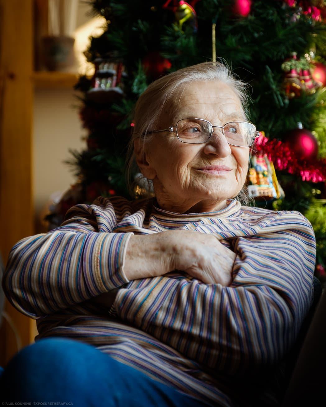 Available light portrait of elderly lady white balance