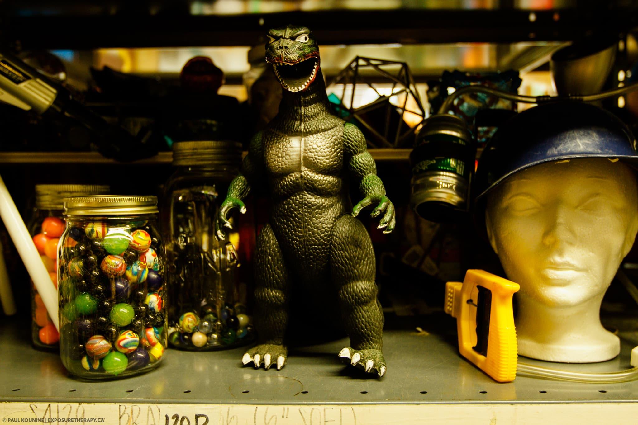 Godzilla toy in craft shop showing incorrect white balance