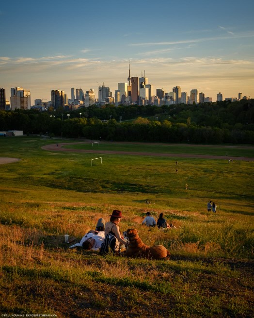 Toronto Riverdale Park East sunset warm white balance