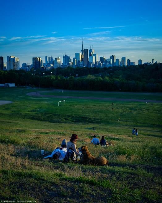 Toronto Riverdale Park East sunset cool white balance