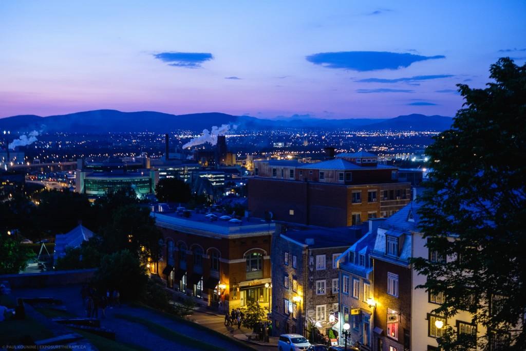 Quebec City at twilight incandescent white balance.